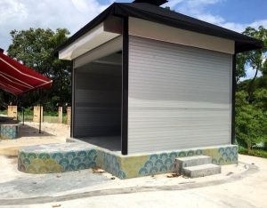 Motorized Aluminium Roller Shutters Installed at Outdoor Storage Area for Restaurant