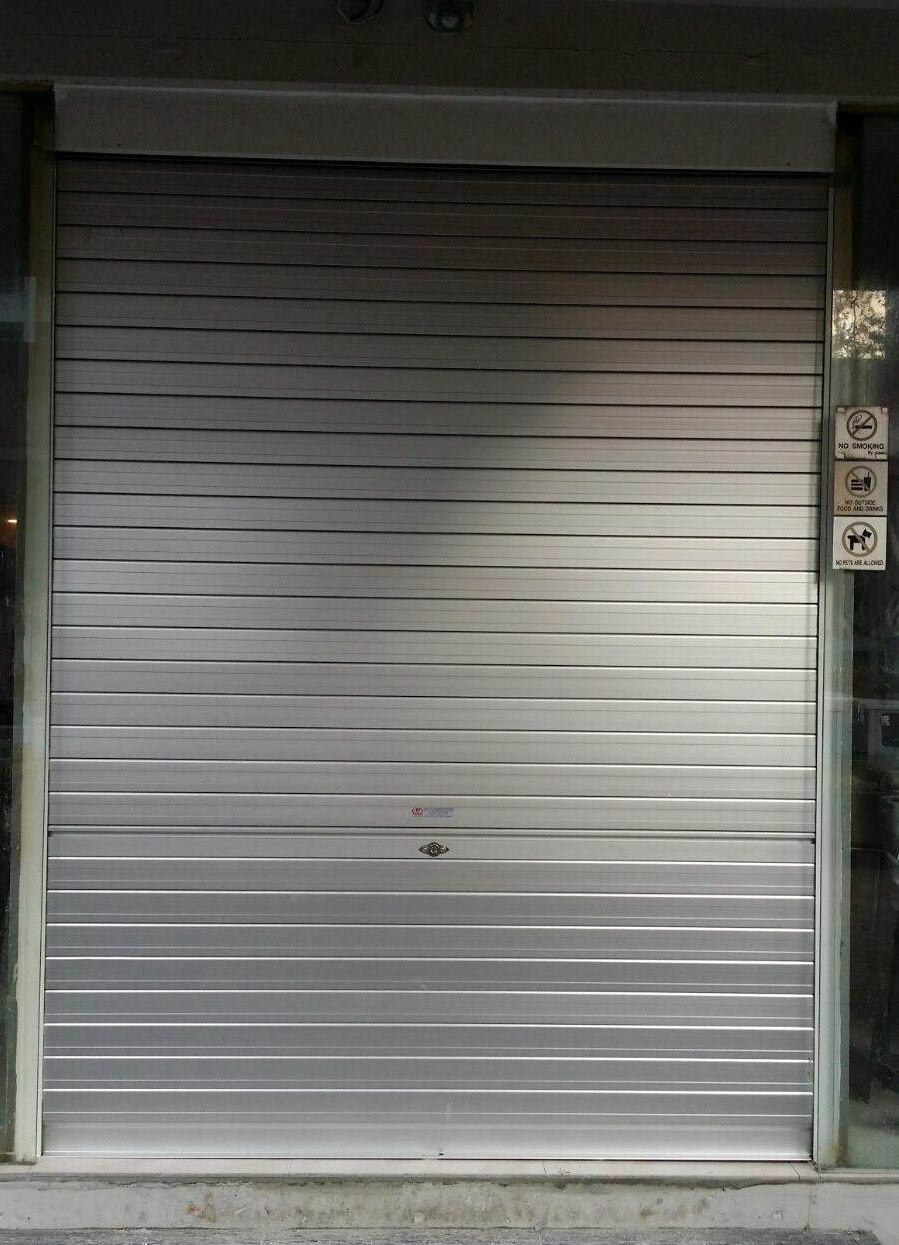 Shopping Centre Food Court Glass Door Replaced With Roller Shutters