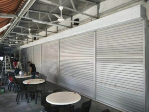 Manually Operated Aluminium Shutters for Aljunied Coffee Shop