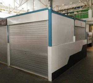 Installation of Aluminium Roller Shutters with Colour Bond Sheet & Angle Bar Frame for Food Stall