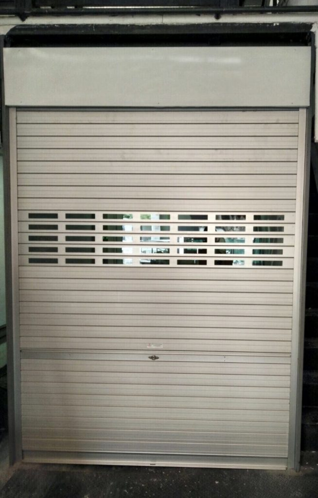 Dismantled Previous Folding Door and Installed Brand New Manually Operated Aluminium Roller Shutter with Viewing Panel for Factory Entrance at Aljunied Avenue 3