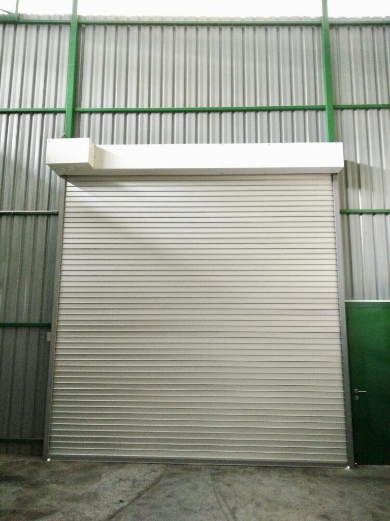 Motorised Operated Aluminium Shutters for Warehouse Entrance at Jalan Besut