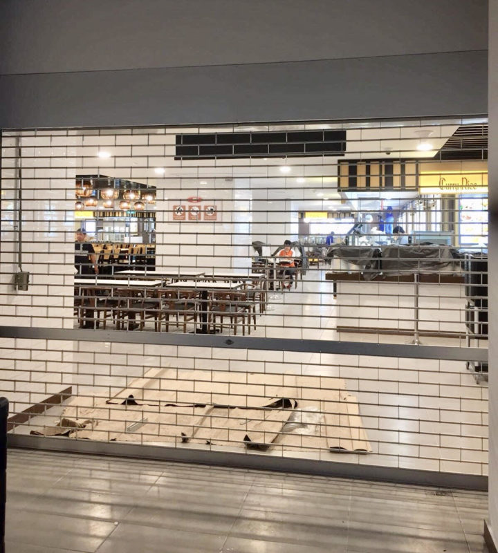 Two Sets of Manually Operated Aluminium Roller Grille for Food Court Entrance at Raffles Hospital
