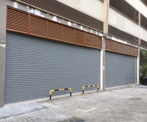 5 Sets of Motorised Operated Steel Roller Shutters in Colourbond Finishing Installed for Industrial Canteen
