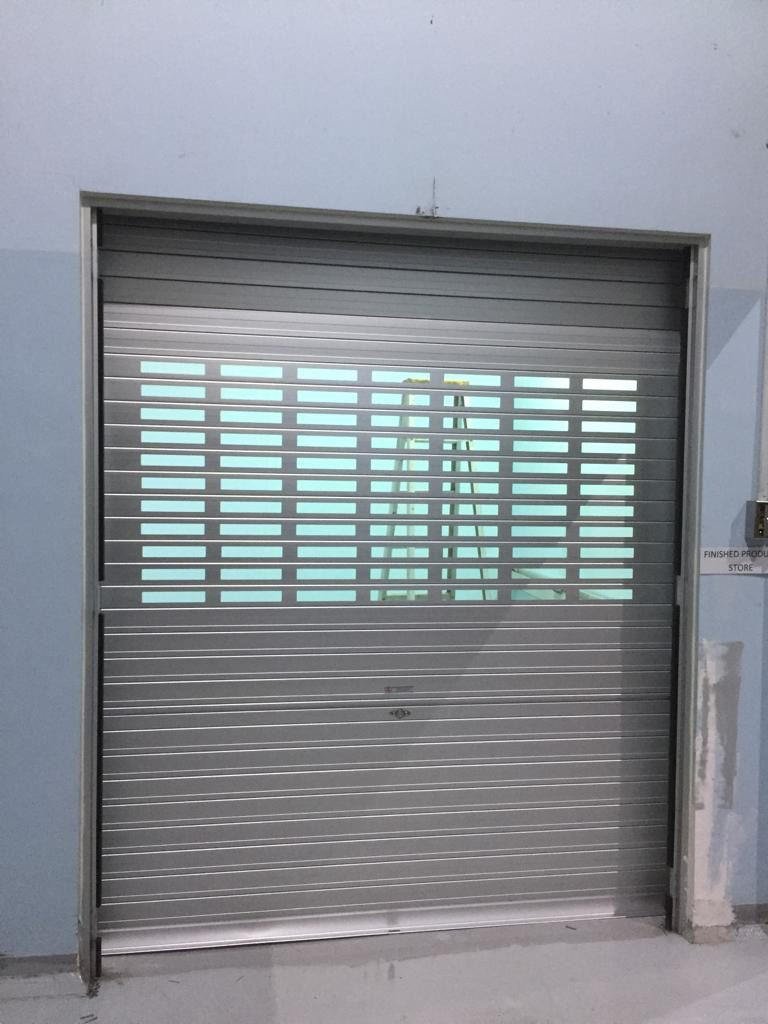 Replaced 3 Sets of Metal Swing Door with New Manually Operated Aluminium Roller Shutter with Viewing Panels at Senoko Avenue
